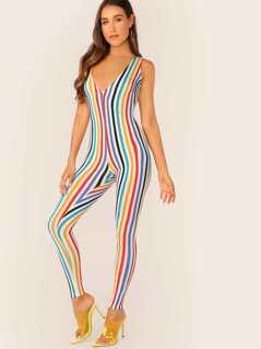 V-Neck Jersey Knit Stripe Bodycon Jumpsuit