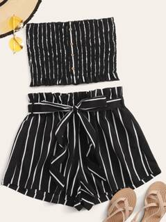 Buttoned Shirred Striped Bandeau & Paperbag Waist Shorts Set