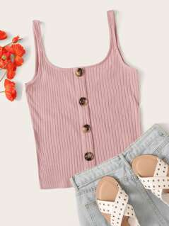 Button Front Rib-knit Tank Top