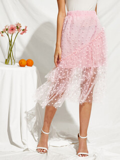 Ruffle Layered Dot Semi Sheer Mesh Skirt