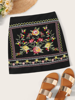 Zipper Fly Embroidery Tribal Print Skirt