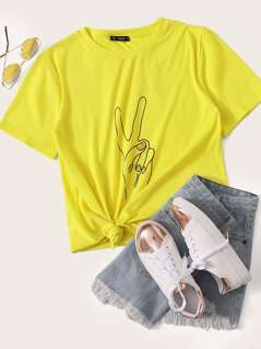 Neon Yellow Hand Print Top