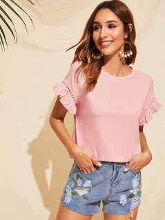 Guipure Lace Insert Ruffle Trim Top