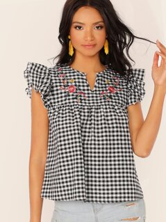 Notch Neck Floral Embroidery Gingham Smock Top