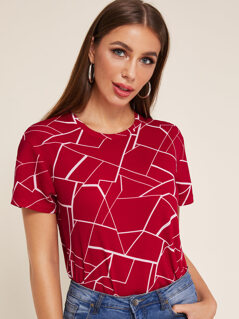 Short Sleeve Geo Print Top