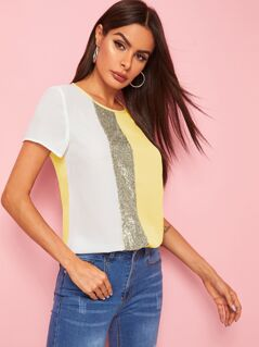 Keyhole Back Cut-and-Sew Sequin Panel Top