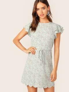 Ditsy Floral Print Layered Flutter Sleeve Tie Waist Dress