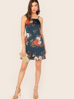 Floral Print Zipper Back Slip Dress