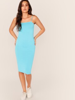 Solid Pencil Cami Dress