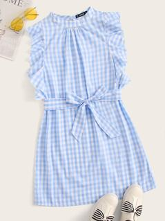 Mock-neck Ruffle Armhole Self Belted Gingham Dress