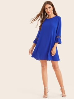 Lace Insert Ruffle Cuff Tunic Dress