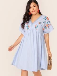 Plus V-neck Empire Waist Striped & Floral Print Dress