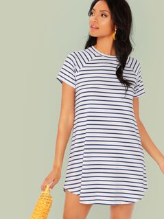 Curved Hem Raglan Sleeve Striped Dress
