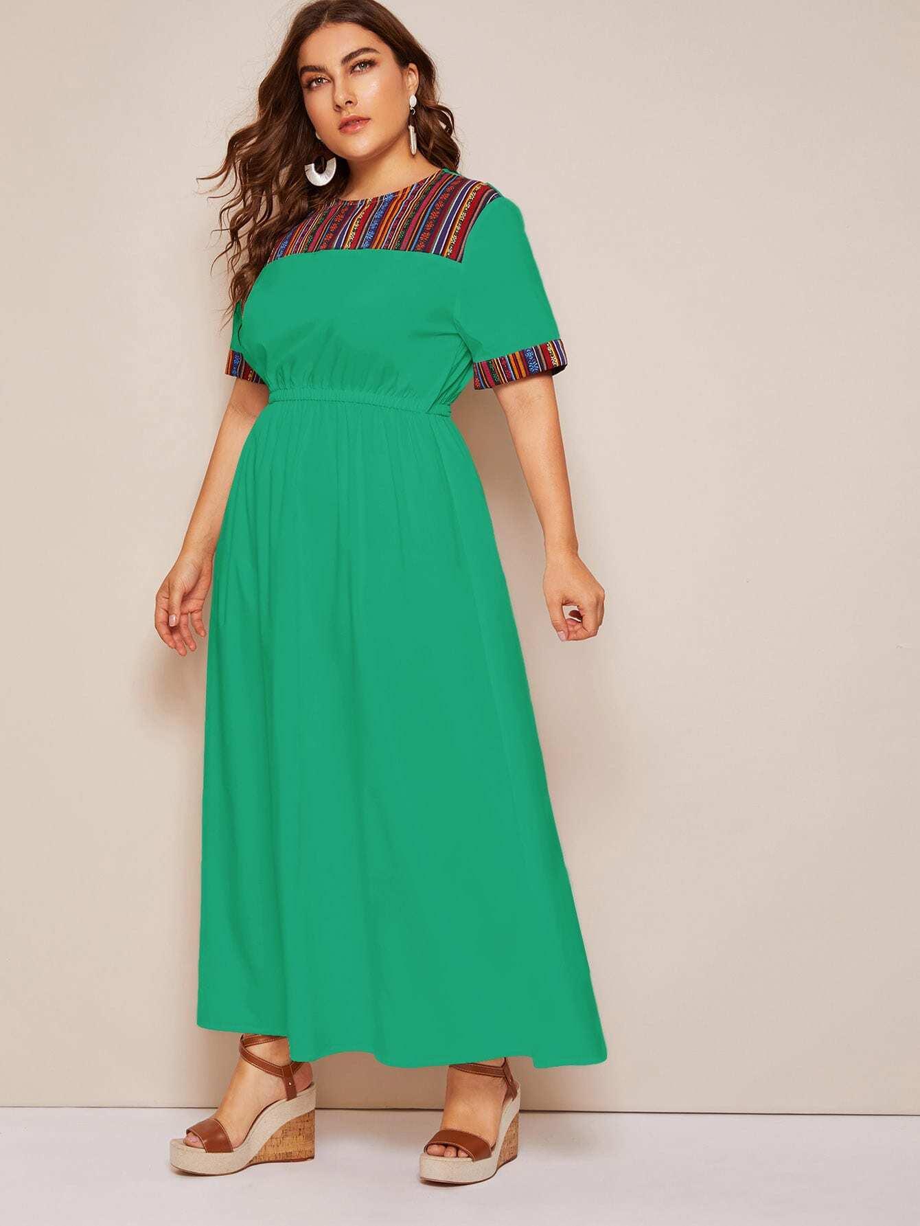 Фото - Кроить и шить платье с графическим принтом размера плюс от SheIn цвет зелёные