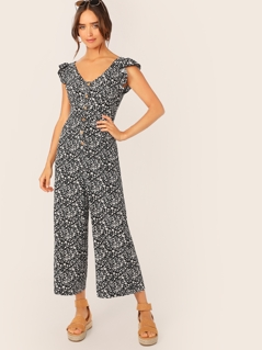 Button Front Ruffle Armhole Ditsy Floral Palazzo Jumpsuit