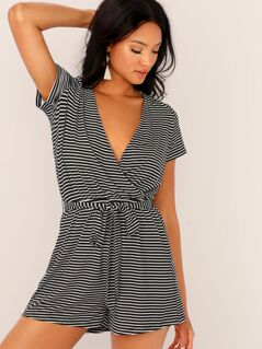 Surplice Neck Self Belted Striped Romper