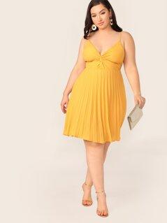 Plus Twist Front Pleated Cami Dress
