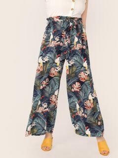 Plus Paperbag Waist Belted Palazzo Tropical Pants
