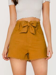 Raw Hem Waist Tie Side Pockets Linen Shorts