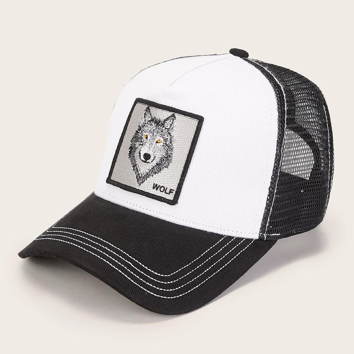 Heren Wolf patroon Mesh baseballcap