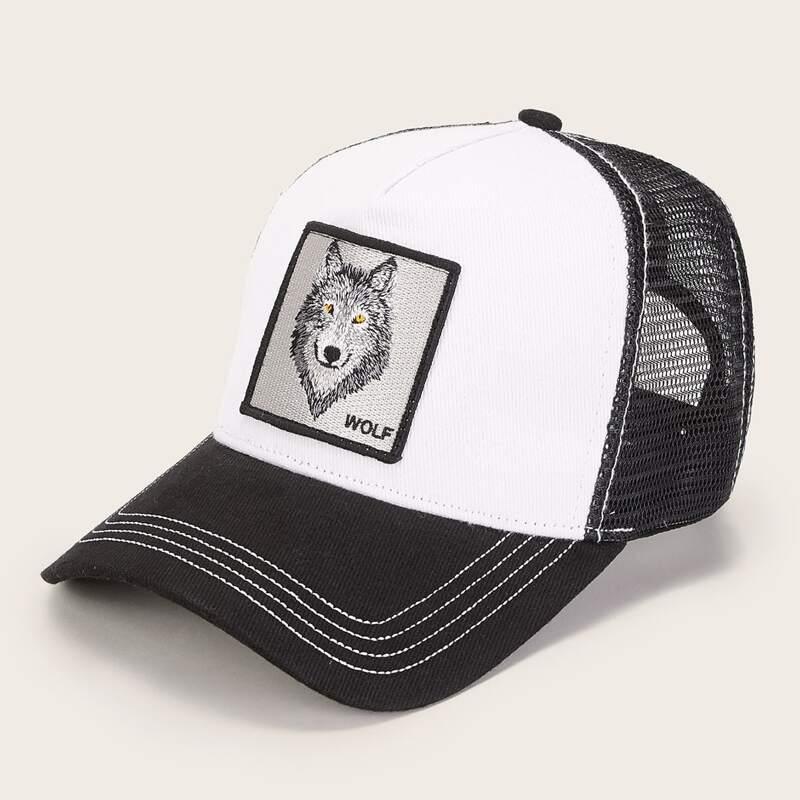 Guys Wolf Pattern Mesh Baseball Cap, Black and white