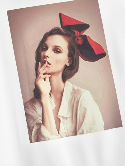Фото 4 - Боди с асимметричным воротником и открытым плечом размера плюс от SheIn черного цвета