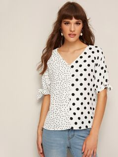 Polka-dot Print Knotted Sleeve Blouse