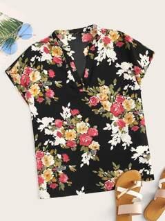 Floral Print V Neck Top