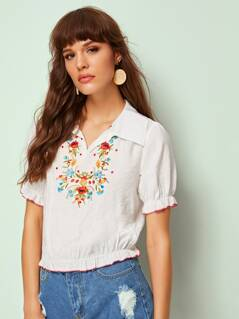 Floral Embroidered Frill Trim Top