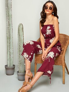 Floral Print Knotted Detail Wide Leg Tube Jumpsuit