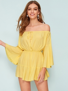 Off Shoulder Flounce Sleeve Knotted Front Romper