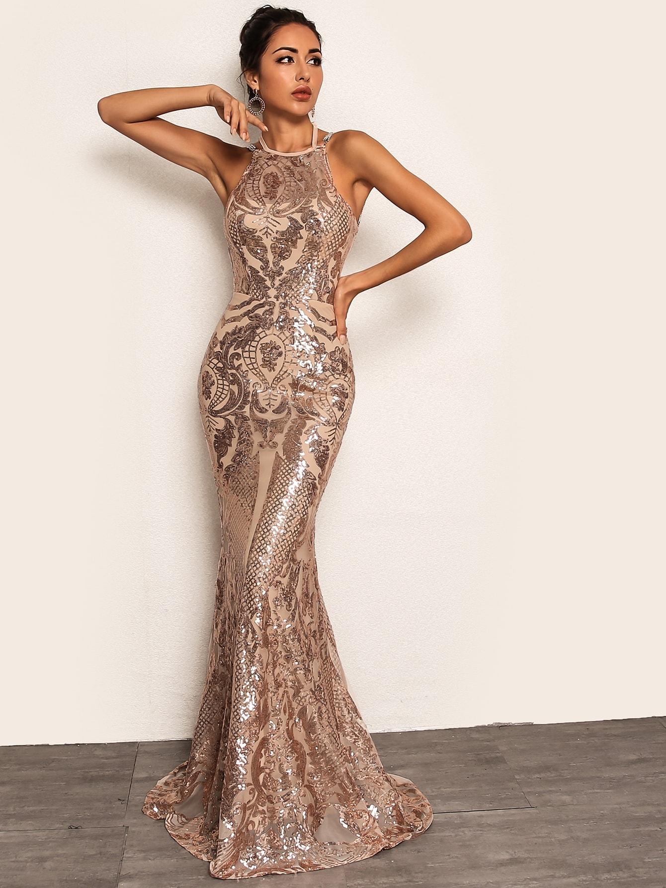 Joyfunear платье-русалка с блестками и цепочкой