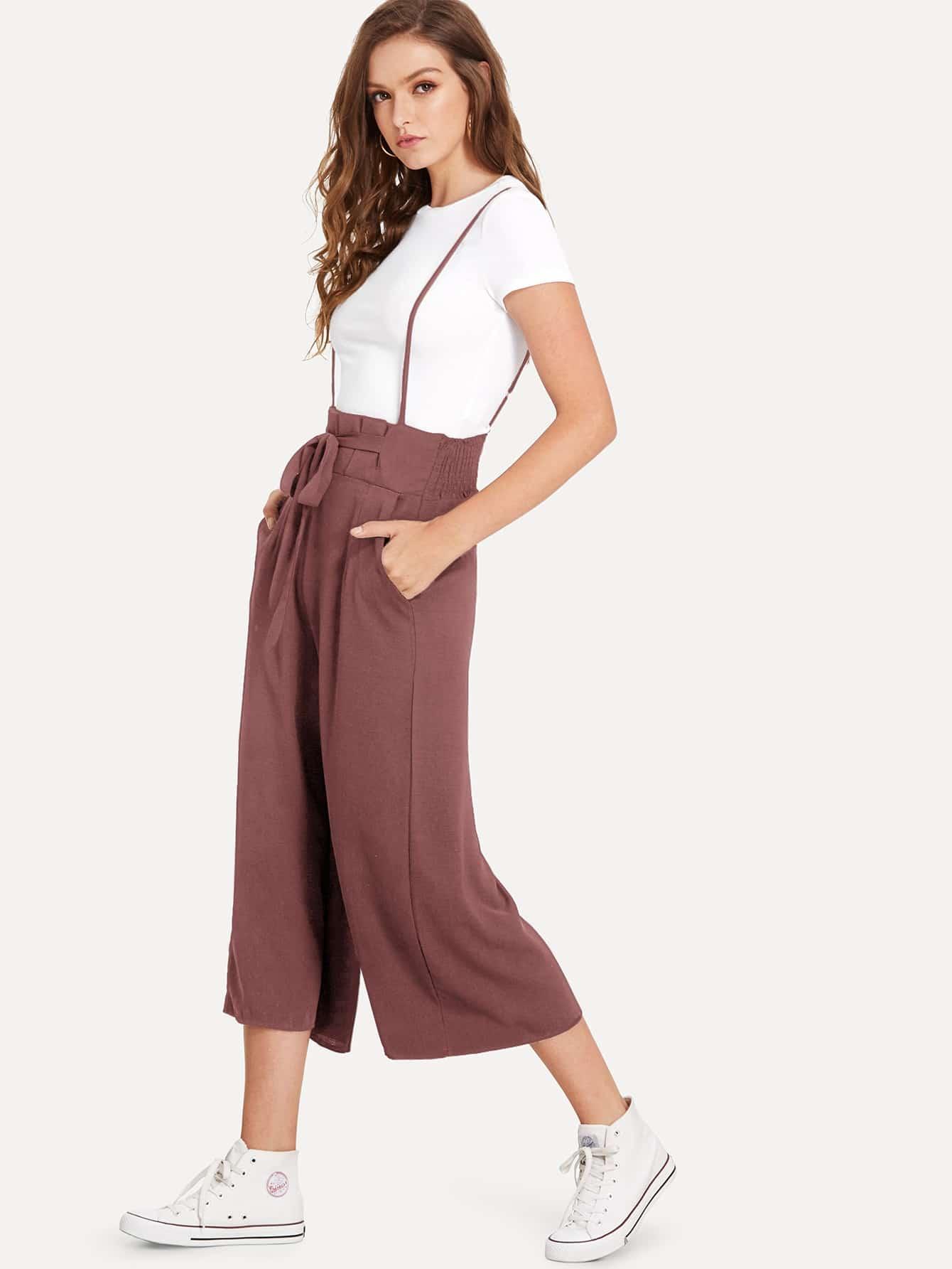 SHEIN / Pantalones cortos con volante fruncido con cordón delantero