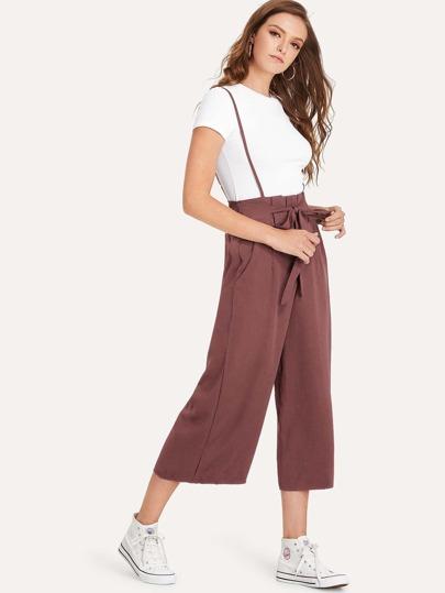 SheIn / Tie Front Shirred Paperbag Crop Jumpsuit