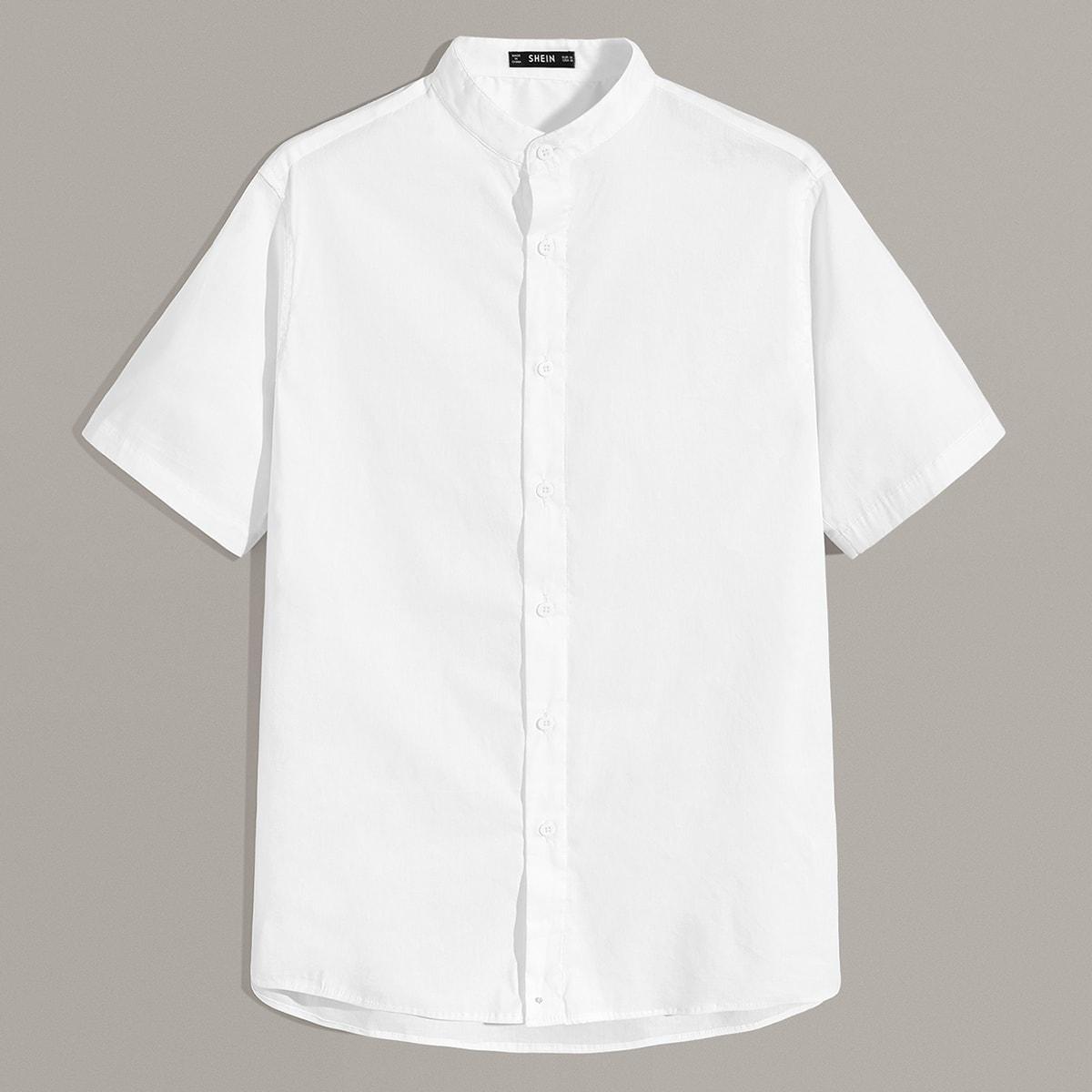 Wit Casual Vlak Overhemden voor heren Voorpand met Knoopjes