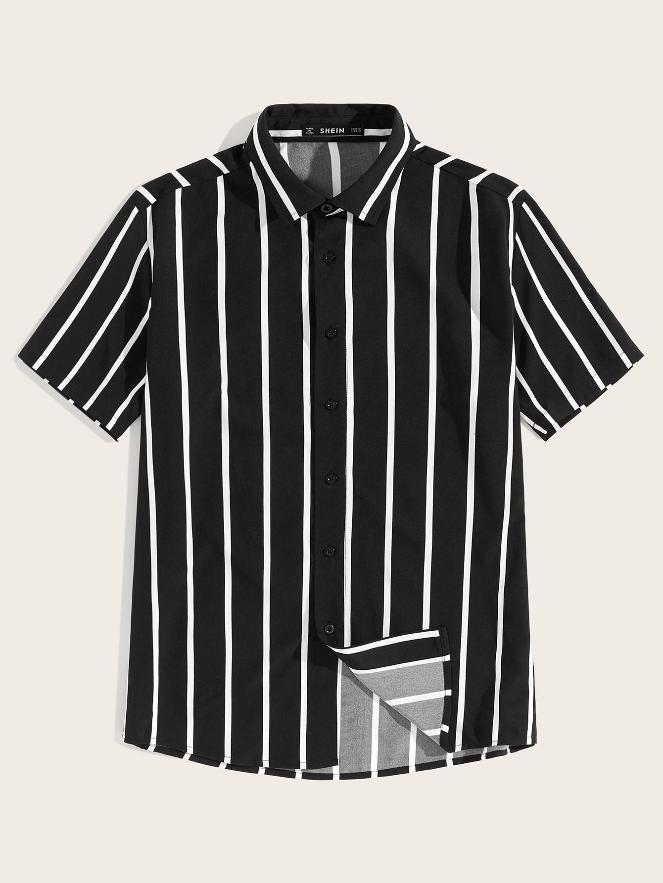 Фото - Мужская рубашка в полоску с пуговицами от SheIn цвет чёрнобелые