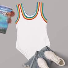 Contrast Rainbow Striped Tape Bodysuit