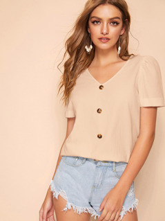 Buttoned Front Puff Sleeve Top