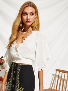 Plunging Guipure Lace Trim Wrap Crop Top