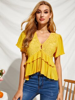Button Front Lace Insert Layered Ruffle Hem Top