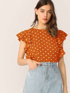 Ruffle Trim Polka Dot Print Top