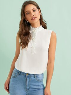 Frill Trim Stand Neck Pearl Detail Blouse