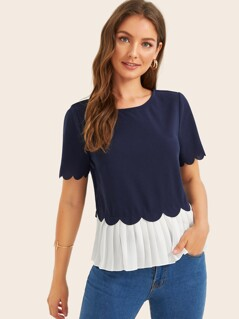 Scallop Trim Pleated Hem Top