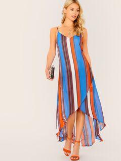 Tribal Print Asymmetrical Wrap Hem Slip Dress