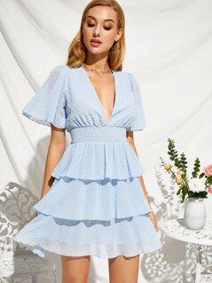 Swiss Dot Shirred Waist Ruffle Layered Dress