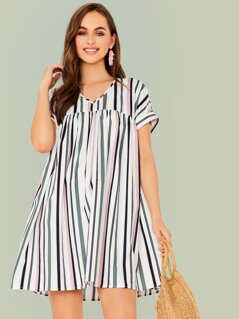V-neck High Waist Cuff Sleeve Striped Dress