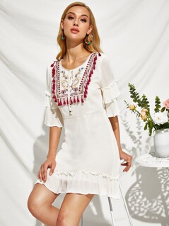 Fringe Trim Embroidery Front Frill Peasant Dress