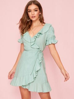 Ruffle Trim Tie Waist Wrap Dress