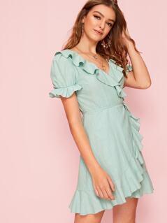 Ruffle Trim Tie Waist Wrap Dress