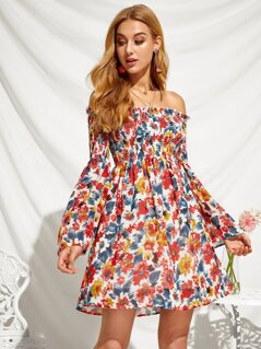 Shirred Bodice Frill Trim Trumpet Sleeve Floral Bardot Dress